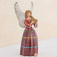 Ceramic figurine, 'Angel from San Rafael Petzal' (11 inch) - Handcrafted Angel Ceramic Sculpture 11.75 Inches Tall