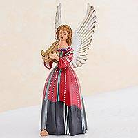 Ceramic figurine, 'Angel from Solola' (11 inch) - Guatemalan Handcrafted Ceramic Angel (11 Inch)