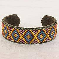Beaded cuff bracelet, 'Pacific Paradise' - Glass Beaded Cuff Bracelet Diamond Motif from El Salvador