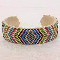 Beaded cuff bracelet, 'Sun's Path' - Glass Beaded Cuff Bracelet Rhombus Motif from El Salvador
