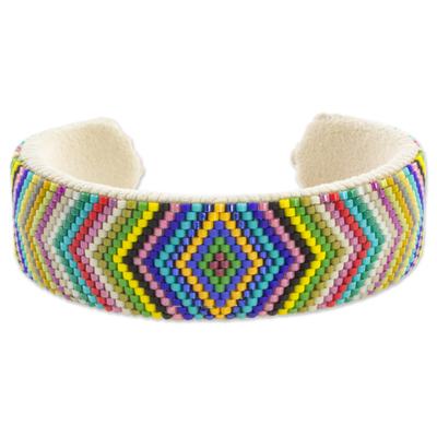 Fair Trade Multicolor Glass Beaded Geometric Chevron Cuff Bracelet