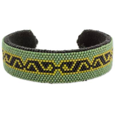 Green and Black Glass Beaded Cuff Bracelet from El Salvador