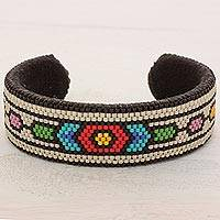 Beaded cuff bracelet, 'Pacific Flower' - Glass Beaded Cuff Bracelet Hexagon Motif from El Salvador