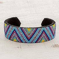 Beaded cuff bracelet, 'Solar Radiance' - Glass Beaded Cuff Bracelet Zigzag Motif from El Salvador
