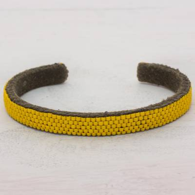 Beaded cuff bracelet, 'Beautiful Horizon in Yellow' - Glass Beaded Cuff Bracelet in Solid Yellow from El Salvador
