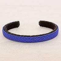 Beaded cuff bracelet, 'Beautiful Horizon in Blue' - Glass Beaded Cuff Bracelet in Cornflower from El Salvador