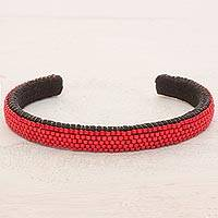 Beaded cuff bracelet, 'Beautiful Horizon in Scarlet' - Glass Beaded Cuff Bracelet in Solid Scarlet from El Salvador