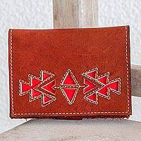 Leather wallet, 'Lively Culture in Redwood' - Geometric Leather Wallet in Redwood from Nicaragua