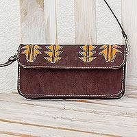 Leather sling, 'Madrone in Brown' - Brown and Saffron Leather Sling Style Handbag
