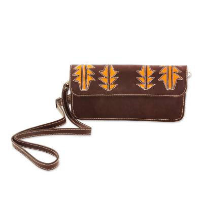Brown and Saffron Leather Sling Style Handbag
