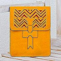 Leather portfolio, 'Lines of Time' - Handcrafted Leather Portfolio in Sunrise from Nicaragua