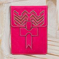 Leather portfolio, 'Ancient Zigzags' - Handcrafted Leather Portfolio in Cerise from Nicaragua