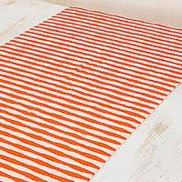 Cotton table runner, 'Guatemala Style' - Hand Woven Cotton Table Runner Orange Stripes from Guatemala