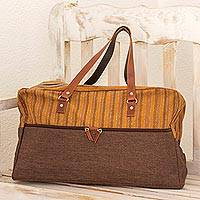 Cotton blend and leather accent travel bag, 'World Parallel Discovery' - Brown and Honey Cotton and Leather Accent Travel Bag