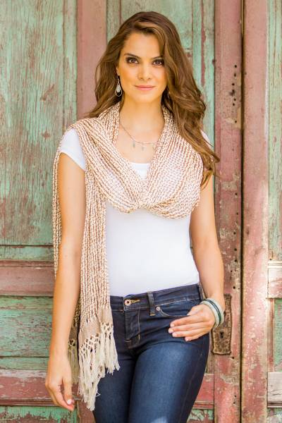 Natural cotton scarf, 'Subtle Illusion in Sepia' - Hand Woven Cotton Scarf Champagne Sepia from Guatemala