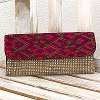 Leather accented cotton clutch, 'Santa Maria Mountains' - Hand Woven Cotton Clutch Khaki Crimson Guatemala