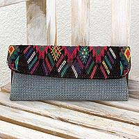 Leather accented cotton clutch, 'Mayan Figures' - Hand Woven Cotton Clutch in Blue/Multi Guatemala