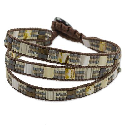 Hand Made Beaded Wristband Bracelet Grey from Guatemala