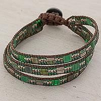 Beaded wristband bracelet, 'Ancient Harmony in Green' - Hand Made Beaded Wristband Bracelet Green from Guatemala