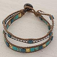 Beaded wristband bracelet, 'Teal Beach' - Hand Made Beaded Wristband Bracelet Teal from Guatemala