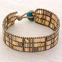 Beaded wristband bracelet, 'Sunny Bay' - Hand Made Beaded Wristband Bracelet Ivory Color Guatemala