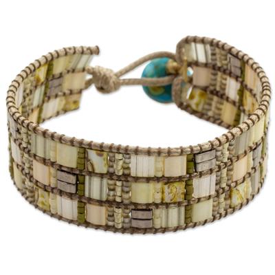 Hand Made Beaded Wristband Bracelet Ivory Color Guatemala