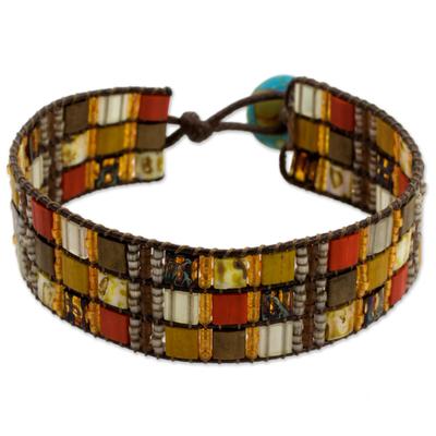 Hand Made Beaded Wristband Bracelet Multicolor Guatemala