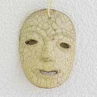 Ceramic mask, 'Eternal Smile' - Hand Made Burnish Ceramic Wall Mask from Honduras