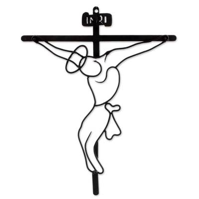 Crucifix Religious Wall Art Sculpture in Black Wrought Iron