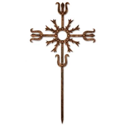 Cross Religious Wall Art Sculpture in Bronze Wrought Iron