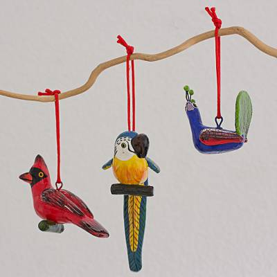 Ceramic ornaments, 'Colorful Plumage' (set of 6) - Ceramic Cardinal Parrot Peacock Ornament Set of 6 Guatemala