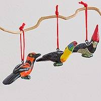 Ceramic ornaments, 'The Wild Life' (set of 6) - Ceramic Oriole Toucan Woodpecker Ornaments 6 Guatemala
