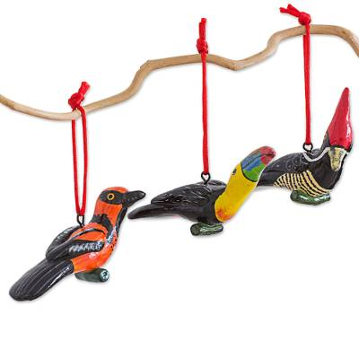 Ceramic Oriole Toucan Woodpecker Ornaments 6 Guatemala