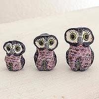 Ceramic sculptures, 'Wisdom and Luck in Lavender' (set of 3) - Lavender Ceramic Owl sculptures Set of 3 from Guatemala