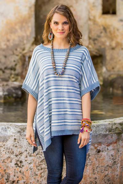 Cotton poncho, 'Elegant Stripes' - Cotton Poncho Blue Stripes Wood Buttons from Guatemala