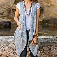 Cotton vest, 'Natural Glamour' - Blue Cotton Open Front Vest from Guatemala