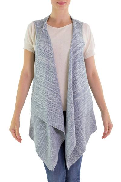 Blue Cotton Open Front Vest from Guatemala
