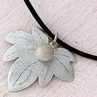 Jade pendant necklace, 'Green Vine Leaf' - Reclaimed Sterling Silver Jade Pendant Necklace Guatemala