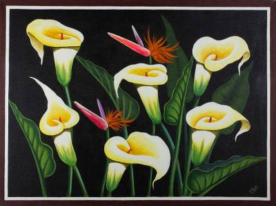 'Calla Lilies' - Floral Painting of Calla Lilies and Birds of Paradise Signed