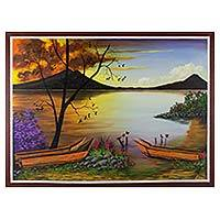 'Atitlan Landscape' - Original Painting of a Lake and Mountains from Guatemala