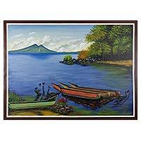 'A Day at the Lake' - Signed Painting of Guatemala's Lake Atitlan with Volcanoes