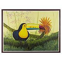 'Toucan' - Signed Painting of Toucan Bird and Guatemalan Natural Flora
