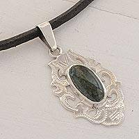 Jade pendant necklace, 'Dark Green Mirror of Tradition' - Mayan Jade Pendant Necklace in Dark Green from Guatemala