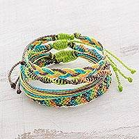 Braided bracelets, 'Avocado' (set of 4) - Four Handcrafted Adjustable Bracelets from Guatemala