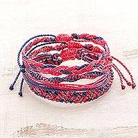 Braided bracelets, 'Blackberry Bush' (set of 4) - Four Hand-Braided Bracelets in Pink from Guatemala