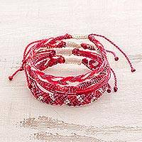 Braided bracelets, 'Pomegranate Fruit' (set of 4) - Set of Four Hand-Braided Bracelets in Pink from Guatemala