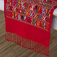 Cotton table runner, 'Natural Magic in Candy Apple' - Embroidered Cotton Table Runner in Red from Guatemala