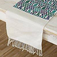 Cotton table runner, 'Natural Magic in Ivory' - Embroidered Cotton Table Runner in Ivory from Guatemala