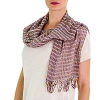 Cotton Scarf, 'Subtle Textiles on Grey' - Artisan Designed and Crafted Cotton Scarf