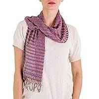 Cotton scarf, 'Subtle Wisteria Textiles' - Artisan Designed and Handcrafted Cotton Scarf